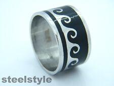 Anello di grandi dimensioni in acciaio inox 316l BLACK & SILVER Men's Women's Design