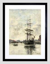 EUGENE BOUDIN FRENCH SHIP TOUQUES BLACK FRAME FRAMED ART PRINT PICTURE B12X5192