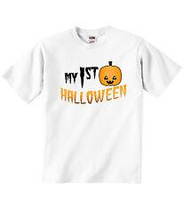 Il mio primo HALLOWEEN unisex PERSONALIZZATA T-shirt Tee Abbigliamento Ragazzo Ragazza Bianco