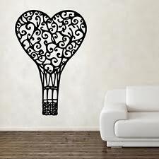 Heart shabby chic vintage Hot air balloon wall art sticker SC17