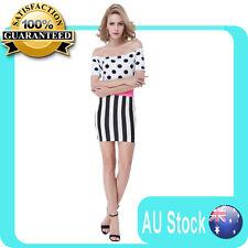 Womens dot printed top Striped Bodycon dress Cocktail Summer Short Mini Dress
