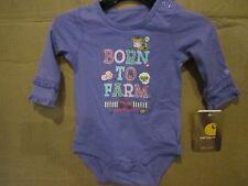 Carhartt Kids Long Sleeve bodysuit Born To Farm Purple Animals Tractor Sparkle