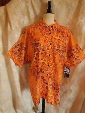 Plus Size We Be Bop Metro Blouse Orange Print  New Tunic Smooth Rayon WeBeBop