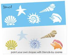 """STENCIL Seashell Beach Sand Starfish Conch Snail Fan Cone 2"""" Shape Nautical Art"""