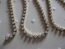 2mm White Opal Rhinestone Chain - Brass Setting - Czech Crystals - Choose Length