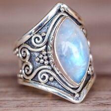 Vintage Women Boho 925 Silver Plated Moonstone Gems Ring Wedding Jewelry Sz6-10