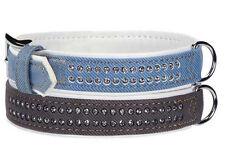 East Side Collection Denim Gemstone Dog Collars Pet Collar Gemstones  blue black