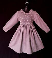 Robe smocks manches longues col volant en tissu finette gris 1 an à 12 ans