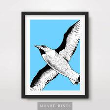 FLYING SEAGUL ART PRINT POSTER Birds Animals Blue Sea Decor Illustration
