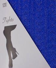 Women Chevron Pattern Silver Lurex Tights  Sparkly Glitter Tights Pantyhose