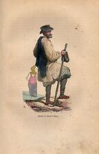 Stampa antica RUSSIA abitante di Mosca abito tradizionale Moscow 1852 Old print