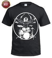 Vitruvian batterista/Divertente/Drumming/T SHIRT/TAMBURI/TAMBURO/KIT Stick/MUSICA/Rock/alto/TEE