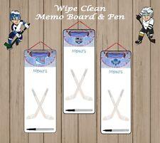 Equipo de hockey sobre hielo los ventiladores Aluminio Blanco Limpie borrador Bolígrafo Sin Memo Tabla