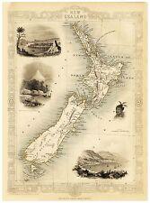 Old Vintage New Zealand decorative map Tallis ca. 1851