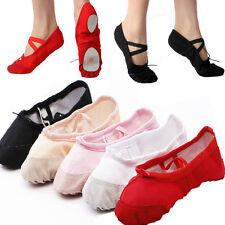 Reino Unido Niñas Lona De Hadas De Zapatos De Ballet bombas, Rosa Nude Negro Blanco Rojo Split Sole