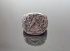 .925 Sterling Silver MASTER MASON Ring Illuminati Masonic Sacred Symbols Eagle