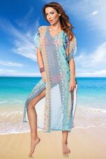 bunter Kaftan Strandkleid transparent Sommerkleid Beachwear blau türkis