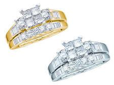 Women's Ladies White/Yellow Gold Princess Cut Diamond Bridal Engagement Ring Set