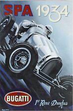 Vintage 1934 Bugatti Spa Motor Racing Poster A3 Print