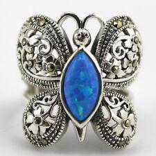 Women Jewelry 925 Silver Filled Ring Blue Opal Butterfly Sapphire Wedding Gift