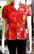 Asia Miss China-Geisha-Qipao Bluse/Blazer/Top Shirt Blumen-Muster Gr.34-52