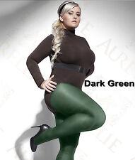 Green 40 Denier Tighs Plus Size XL to XXXXL Microfibre Semi Opaque Perla Hosiery