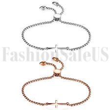 Women's Ladies Stainless Steel Charm Cross Promise Chain Bracelet Bangle Gift