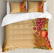 Harvest Duvet Cover Set with Pillow Shams Retro Seasonal Frame Print