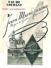 Publicité ROGER & GALLET JEAN MARIE FARINA 1929 parfum