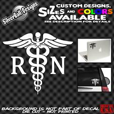 Caduceus RN Custom Vinyl Decal Sticker Car Window Registered Nurse EMT Medical