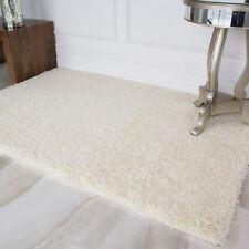 Cream White Light Warm Shaggy Area Rug Bright Living Room Bedroom Floor Rugs