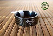 Anello in Acciaio Simbolo di Superman Inossidabile Unisex Supereroe color Nero