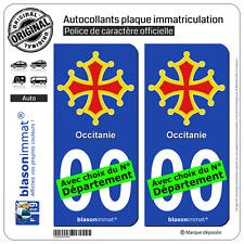 2 Stickers autocollant plaque immatriculation Auto : Occitanie - Croix II