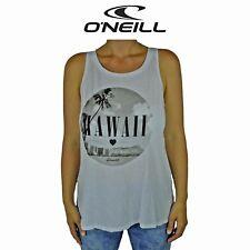 Womens O'Neill Hi Livin Hawaii Love Surf Summer Sleeveless Top White Tank O1.2