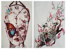 Crâne Fleur en Toile Coton Tissu Patch ~ À faire soi-même Couture Sacs quilting patchwork