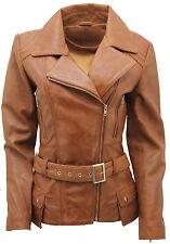 Ladies Tan Vintage Long Feminine Leather Biker Jacket