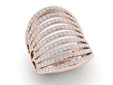 3ctw Round Cut Diamond Fancy Wide Multi-Row Wedding Band Ring 18K Gold FG VS2