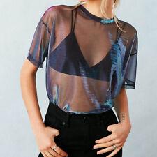 Women Sexy See Thru Transparent Top Mesh Shirt Metallic Shimmer Tee Fashion 2017