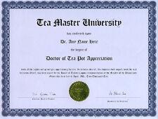 Doctor Tea Pot Appreciation Novelty Diploma Tea Time