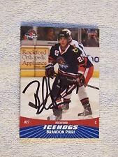 Chicago Blackhawks Brandon Pirri Signed 10/11 Rockford IceHogs Card Auto