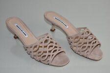NEW Manolo Blahnik Sandals Laser Cut Nude Taupe Beige Suede Kitten Heel Shoes 40