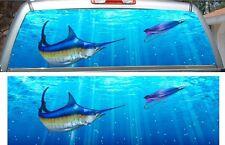 Marlin fishing car truck rear window view thru graphic