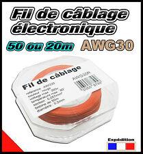 awg34R fil de câblage modélisme ultra fin bobine de 20 ou 50m rouge idéal train