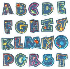 Letras Abecedario De niño Azul Vaquero Hierro en Coser Encendido Parche