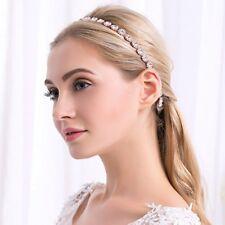 Wedding Bridal Rose Gold Round Crystal Belt Rhinestone Bead Bridal Sash Headband