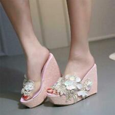 Womens Bling Bling Platform Wedges High Heels Glitter Flower Sandals Pumps RWBN