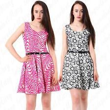 Womens Sleeveless Flower Zebra Printed Ladies Skater Party Dress With Belt 8-14