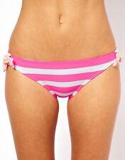 XOXO  Coco Rave Stripe Tie Side Bikini Bottoms PINK / WHITE K-70