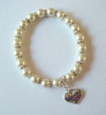 Ivory pearl & crystal charm bracelet avec choix Mariage & Famille message coeur