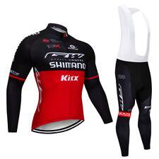 Mens Cycling Long Sleeve Jersey Bib Pants Set Bike Race Long Uniform Clothing